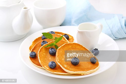 Pancake with berries blueberries : Stock Photo