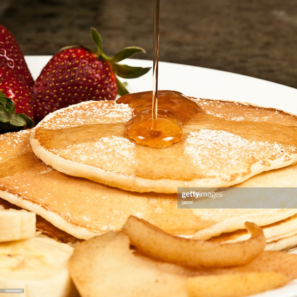 Pancakes and Maple Syrup : Stock Photo