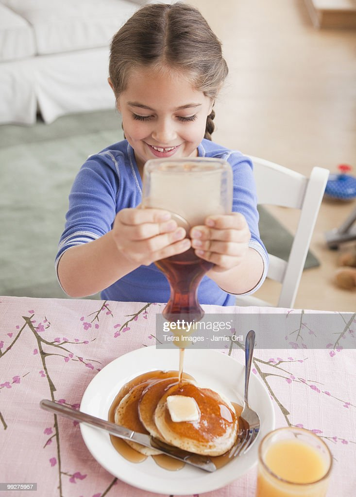 Pancakes and syrup : Stock Photo