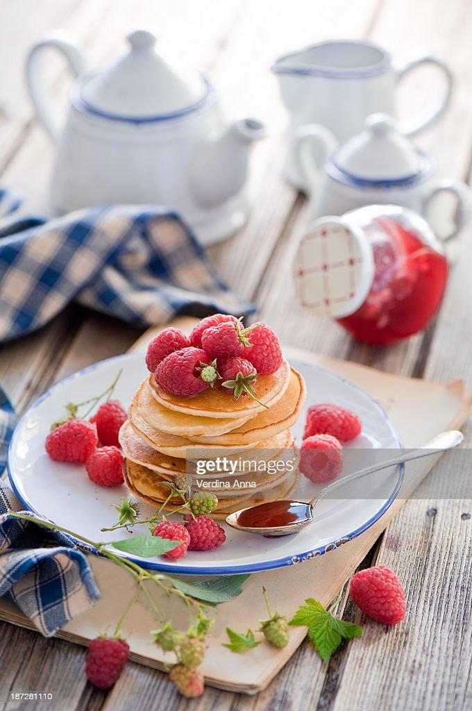 Pancakes for breakfast : Stock Photo
