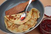 Pancakes of the candlemas  Homemade strawberry jam