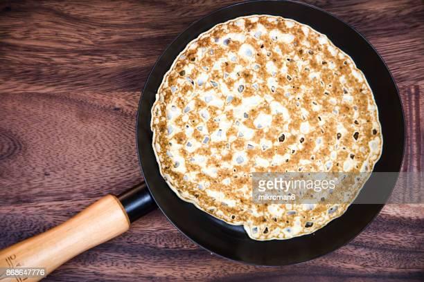 Pancakes on fried pan, Breakfast