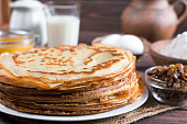 Traditional Ukrainian or Russian pancakes on the plate