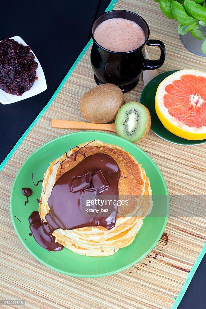 pancakes with chocolate : Stock Photo