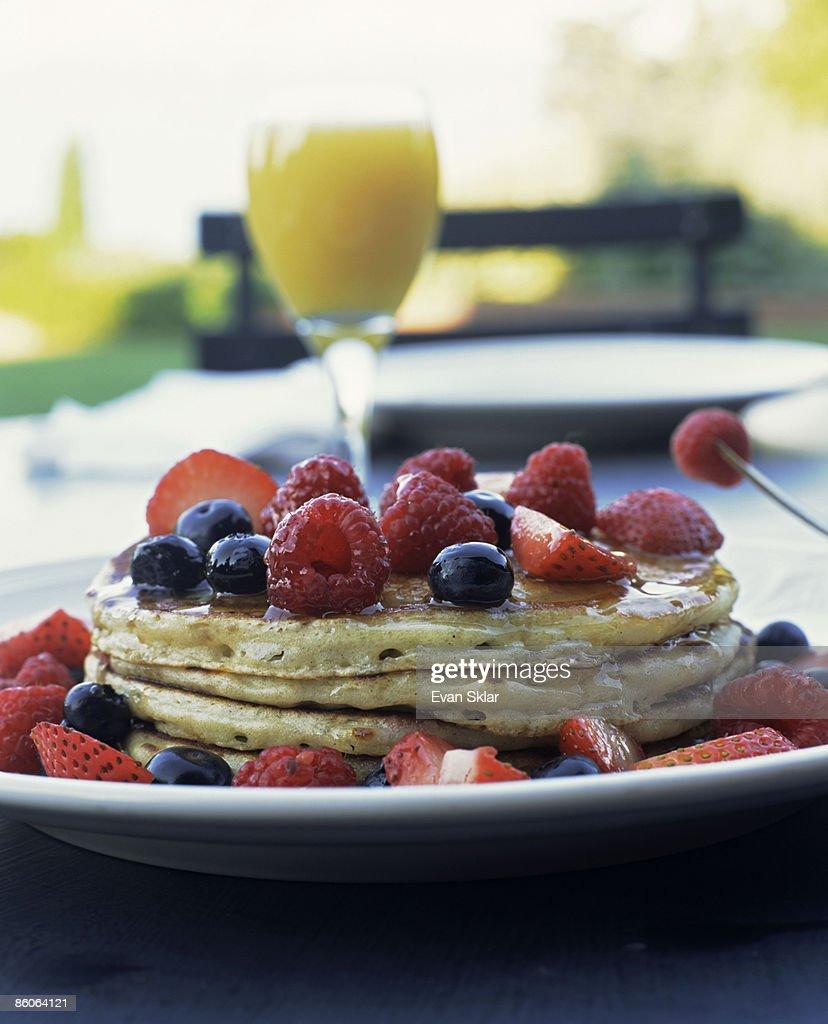 Pancakes with Fresh Berries : Stock Photo