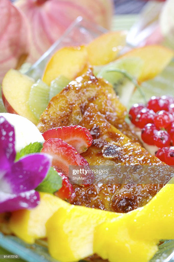 Pancakes with fruits : Stock Photo