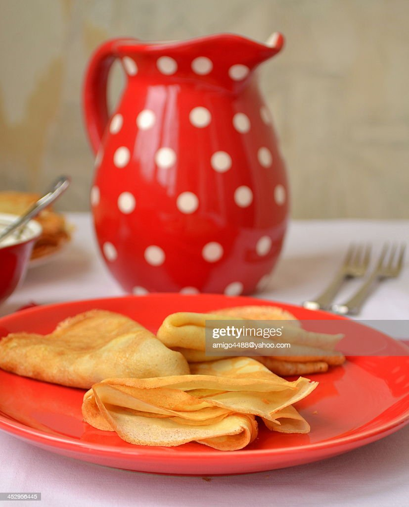 Pancakes with honey : Stock Photo
