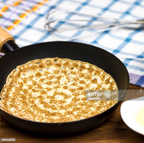 Pancakes with ingredients on table, Breakfast