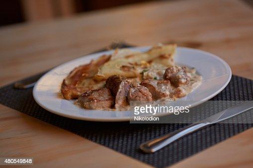 Panquecas com carne : Foto de stock