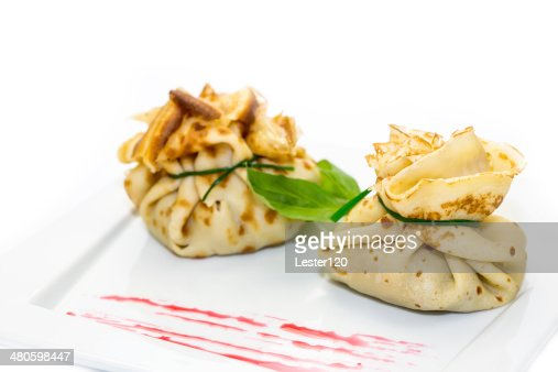 pancakes with meat : Stock Photo