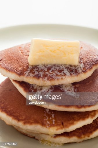 pancakes with melting butter : Stock Photo