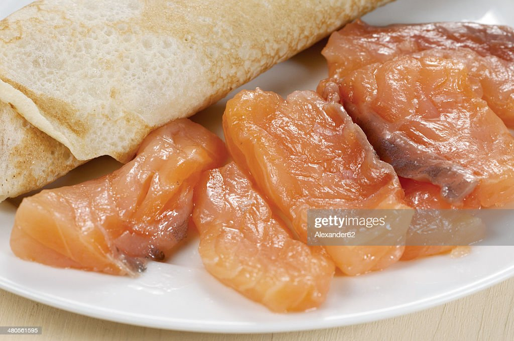 Pancakes with salmon : Stock Photo