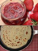 Pancakes with strawberry jam