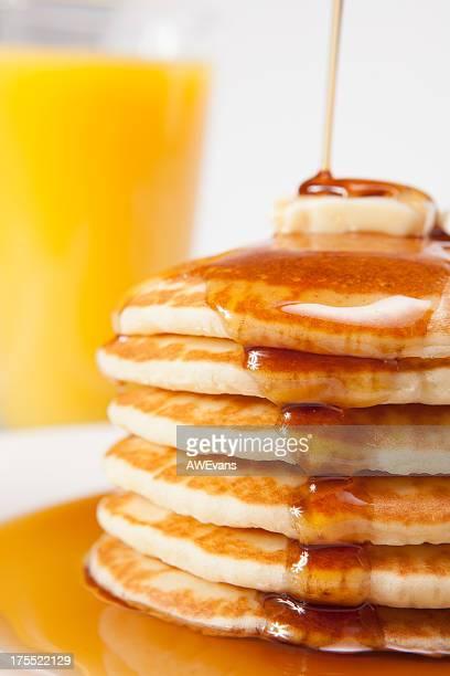 Pancakes with syurp and Orange Juice