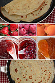 Pancakes with wheat flour  Jams Strawberry Apricot Raspberry  French cooking