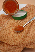 Pancakes with wheat flour  Apricot jam