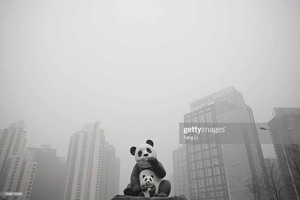 A panda sculpture is seen during severe pollution on January 23, 2013 in Beijing, China. The air quality in Beijing on Wednesday hit serious levels again, as smog blanketed the city.