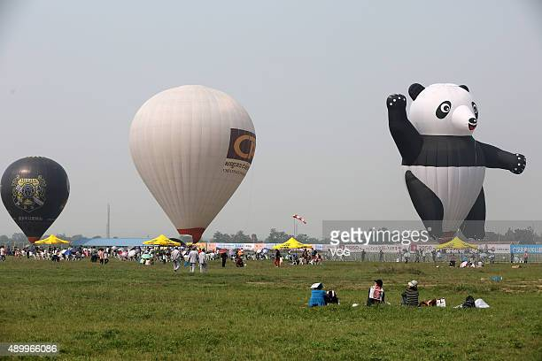 A pandashaped hotair balloon is displayed during 2015 Zhengzhou Airshow at Shangjie Airport on September 25 2015 in Zhengzhou Henan Province of China...