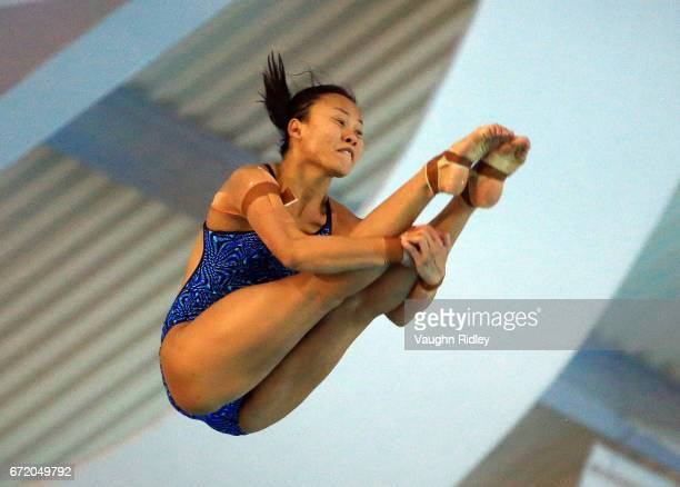 Pandelela Pamg of Malaysia competes in the Women's 10m Final during the 2017 FINA Diving World Series at the Windsor International Aquatic and...
