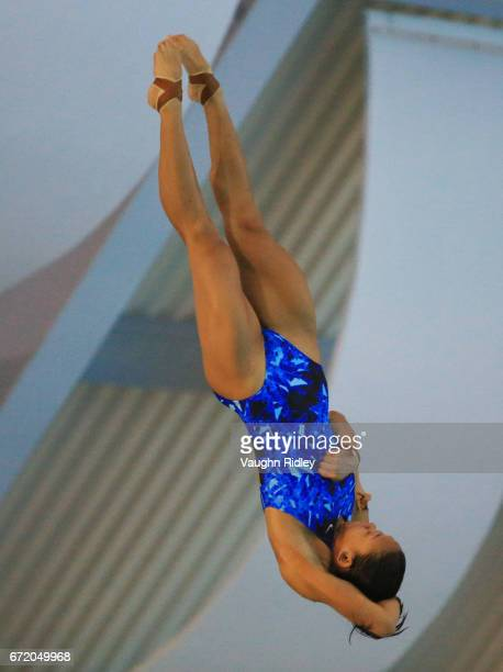 Pandelela Pamg of Malaysia competes in the Women's 10m Semifinal B during the 2017 FINA Diving World Series at the Windsor International Aquatic and...