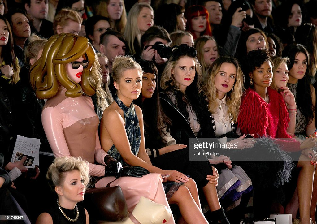 Pandemonia, <a gi-track='captionPersonalityLinkClicked' href=/galleries/search?phrase=Mollie+King&family=editorial&specificpeople=5522262 ng-click='$event.stopPropagation()'>Mollie King</a>; <a gi-track='captionPersonalityLinkClicked' href=/galleries/search?phrase=VV+Brown&family=editorial&specificpeople=5547401 ng-click='$event.stopPropagation()'>VV Brown</a> and <a gi-track='captionPersonalityLinkClicked' href=/galleries/search?phrase=Kate+Nash&family=editorial&specificpeople=4337182 ng-click='$event.stopPropagation()'>Kate Nash</a> attend the Felder Felder show during London Fashion Week Fall/Winter 2013/14 at Somerset House on February 15, 2013 in London, England.