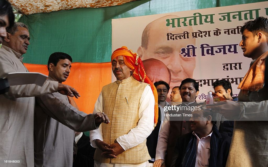 Pandits during Newly appointed BJP Delhi Pradesh President Vijay Goel at a function at BJP office on February 17, 2013 in New Delhi, India.