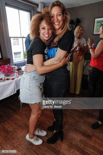 Pandora Christie and Laura Pradelska attend the launch of empowering tshirt collection egaliTEE made in collaboration with Habitat for Humanity at...
