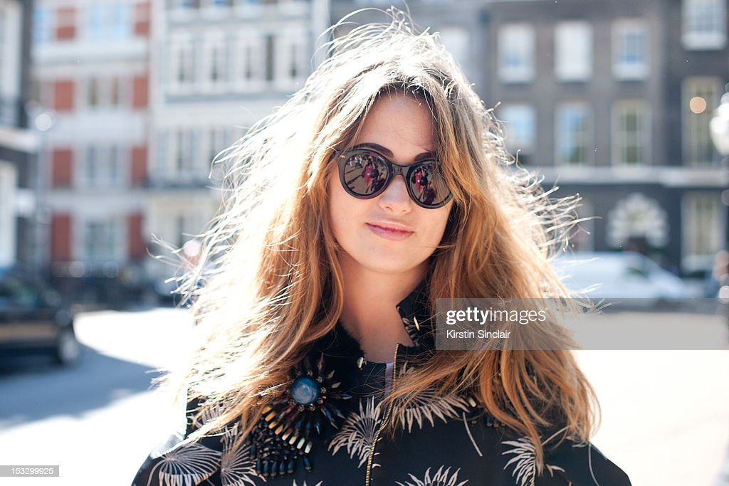 Pandora Leonard, stylist wearing a Marni suit and Gross sunglasses and a Cos top on day 5 of London Fashion Week Spring/Summer 2013, on September 18, 2012 in London, England.