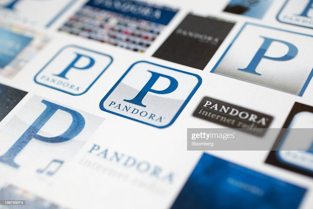 Pandora Media Inc. logos are photographed in Washington, D.C., U.S., on Tuesday, Nov. 20, 2012. Pandora Media Inc. is scheduled to release earnings data on Dec 4. Photographer: Andrew Harrer/Bloomberg via Getty Images
