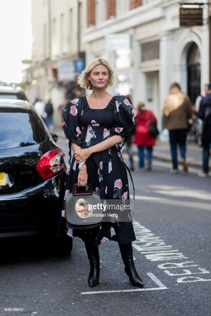 Pandora Skies wearing dress outside House of Holland during London Fashion Week September 2017 on September 16, 2017 in London, England.
