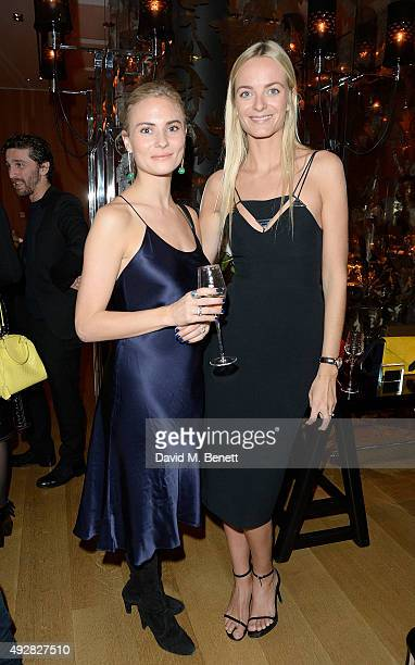 Pandora Sykes and Virginie Courtin Clarins attend the Frieze Dinner hosted by Mugler for their handbag line launch at Rosewood London on October 15...