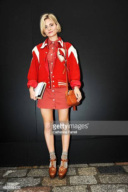 Pandora Sykes Fashion Editor at Style Magazine for The Sunday Times wearing a Beyond Retro vintage footballers jacket dress by Alexa Chung for AG...