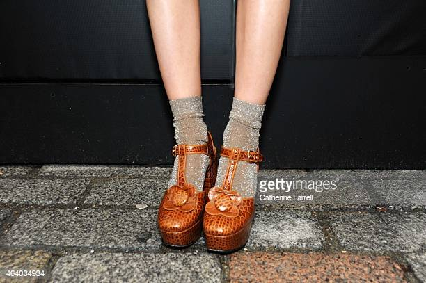 Pandora Sykes Fashion Editor of Syle Magazine and The Sunday Times wears Orla Kiely platform wedge Shoes during London Fashion Week Fall/Winter...