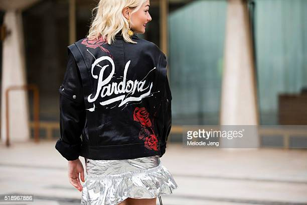 Pandora Sykes The Sunday Times Style Fashion Features Editor wears Christie Nicolaides earrings and a personalized Faith Connexion 'Pandora' with...