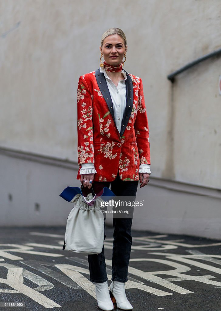 Pandora Sykes wearing a red blazer with floral print seen outside Erdem during London Fashion Week Autumn/Winter 2016/17 on February 22 2016 in...