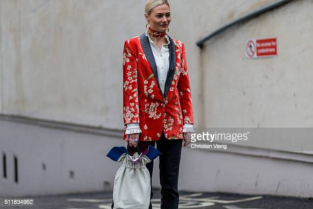 Pandora Sykes wearing wearing a red blazer with floral print seen outside Erdem during London Fashion Week Autumn/Winter 2016/17 on February 22 2016...