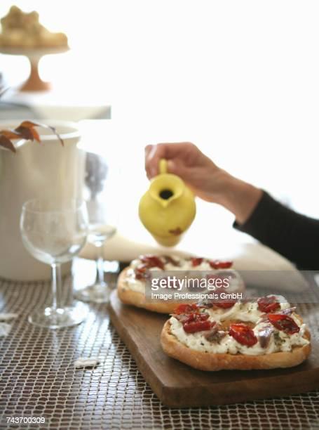 Pane condito (open bagel sandwiches, Italy)