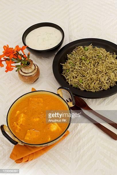 Paneer makhani with matar pulao & cucumber raita