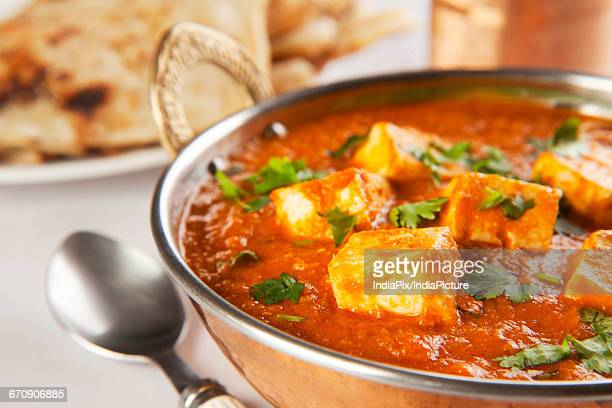 Paneer Tikka Masala curry with roti, Indian food
