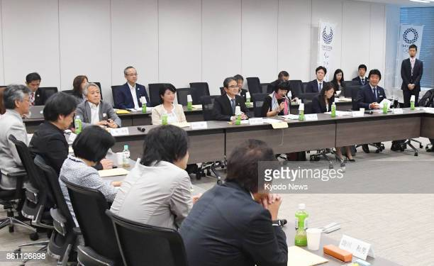 A panel examining entries for the official mascots of the 2020 Tokyo Olympics and Paralympics holds a meeting in Tokyo on Oct 13 2017 Three mascot...