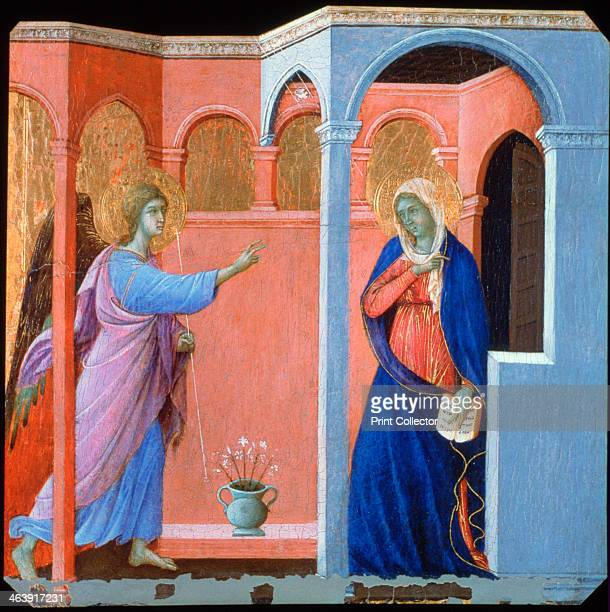 'Panel from the Maestà Altarpiece The Annunciation' 1311 Found in the collection of the National Gallery London