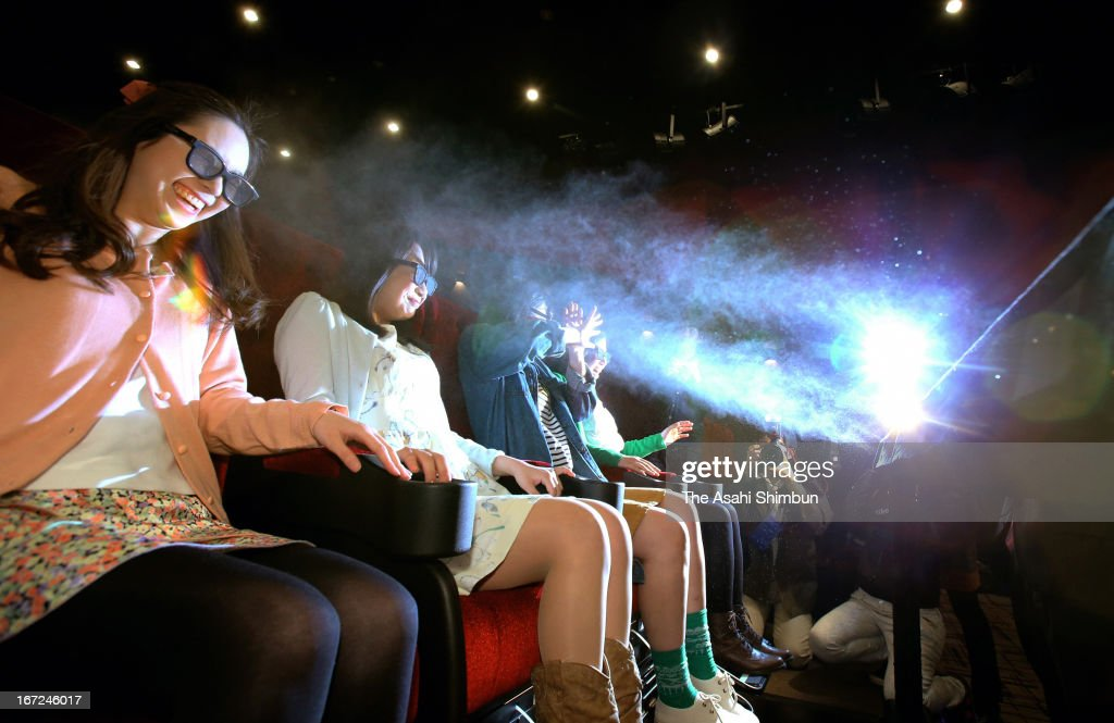 Panel in front of the seats sprays water mist to the audience at 4DX-equipped theater during a press preview at Nakagawa Korona World on April 22, 2013 in Nagoya, Aichi, Japan.The newly arrived technology delivers smells, seat motions, strobe lights and fog, all in sync with events as they appear on the screen.