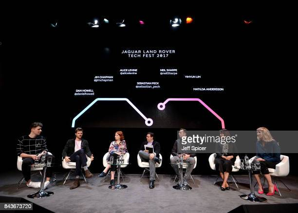 A panel including Daniel Howell Jim Chapman Alice Levine Sebastian Peck Neil Sharpe Yihyun Lim and Dr Matilda Andersson speak at the Technology with...