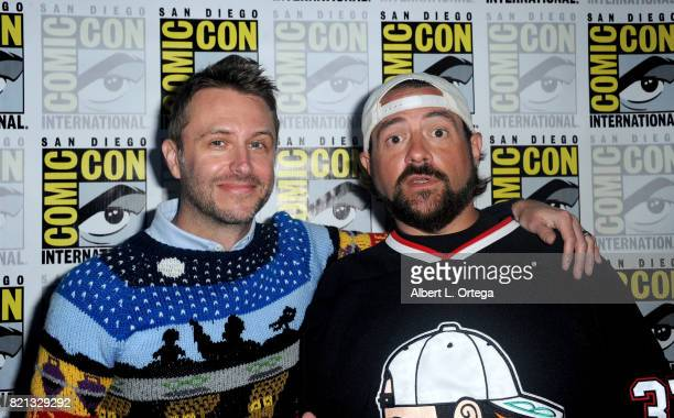 Panel moderators Chris Hardwick and Kevin Smith at Dirk Gently's Holistic Detective Agency BBC America Official Panel during ComicCon International...
