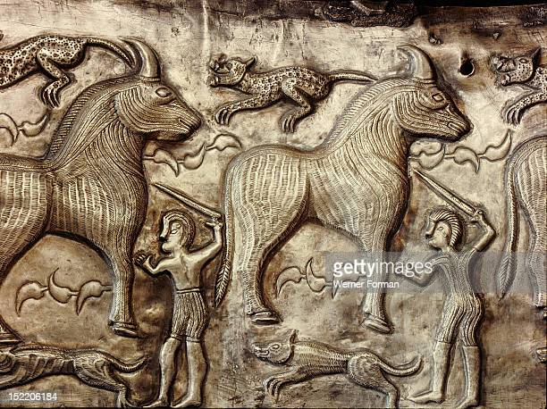 Panel of the Gundestrup cauldron Generally thought to be of Celtic origin brought to Denmark as plunder Hunting scene and unicorns *** Celtic found...