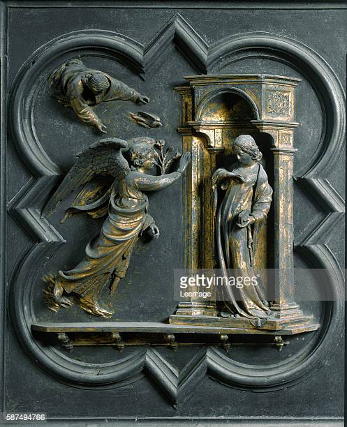 Panel of the North doors exterior detail The Annunciation Gilded bronze by Lorenzo Ghiberti 1424 San Giovanni Baptistery Florence Italy