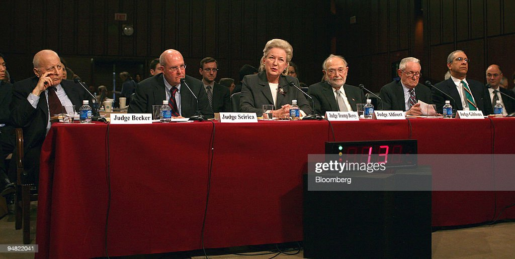 Panel Two at the Senate Judiciary Committee confirmation hearing on January 12, 2006 for the open position as justice of the U.S. Supreme Court. The panel is composed of U.S Court of Appeals judges. left to right: Edward R. Becker, U.S. Court of Appeals Judge (senior) Philadelphia, PA. Anthony J. Scirica, U.S. Court of Appeals Judge for the Third District, Philadelphia, PA. Maryanne Trump Barry, U.S. Court of Appeals Judge Philadelphia, PA., Ruggero J. Aldisert, U.S. Court of Appeals Judge (senior) Philadelphia, PA, John J. Gibbons, U.S. Court of Appeals Judge (retired), Timothy K. Lewis, U.S. Court of Appeals Judge (retired).