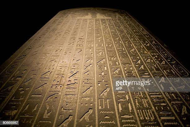 A panel with hieroglyphics on show at a new exhibition titled 'Egypt's Sunken Treasures' on April 14 2008 in Madrid Some 500 treasures of ancient...