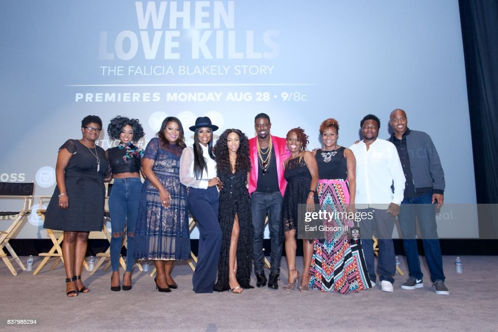 Panelist Chief Communications Officer, National Domestic Violence Hotline Cameka Crawford, Saving Our Daughter Mentor Ms. Trenyce Cobbins, SVP TV One D'Angela Proctor, Director Tasha Smith, Niatia 'Lil Mama' Kirkland, Lance Gross, Screenplay writer Cas Siegers-Beedles, TV One Senior Director Tia Smith, Host Kevin Frazier and Director of Photography Bruce Francis Cole at Harmony Gold on August 22, 2017 in Los Angeles, California.