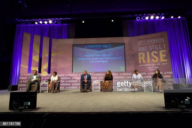 Panelist Clarence Cox III Sheila Jackson Lee Marc Veasey Tamika Mallory Clayola Brown and Vanita Gupta serve as panelist at the National Town Hall at...